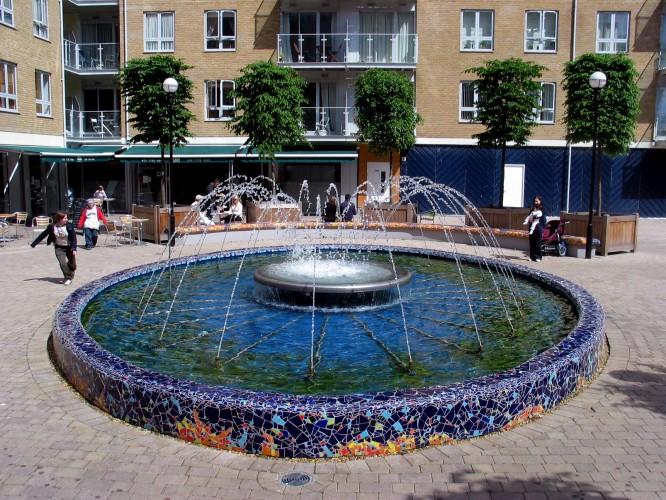Fontaine et ses deux bancs adjacents